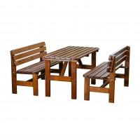 Set masa dreptunghiulara, cu 2 banci cu spatar, pentru gradina Lux, din lemn
