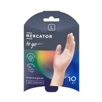 Manusi de protectie unica folosinta Mercator To - Go, vinil, transparent, marimea L, set 10 buc