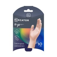 Manusi de protectie unica folosinta Mercator To - Go, vinil, transparent, marimea XL, set 10 buc