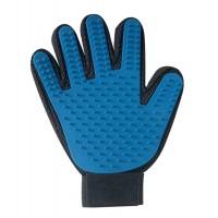 Perie manusa cu 5 degete Record, albastru, pentru caini si pisici
