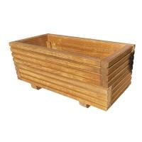 Ghiveci din lemn, mic, dreptunghiular, natur, 56 x 26 x 25 cm
