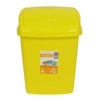 Cos gunoi Agora Plast din plastic, forma dreptunghiulara, galben, cu capac batant, 18 L