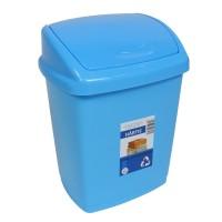 Cos gunoi Agora Plast din plastic, forma dreptunghiulara, albastru, cu capac batant, 27 L