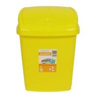 Cos gunoi Agora Plast din plastic, forma dreptunghiulara, galben, cu capac batant, 27 L
