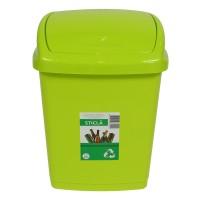 Cos gunoi Agora Plast din plastic, forma dreptunghiulara, verde, cu capac batant, 27 L