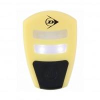 Lampa pentru bicicleta, Dunlop, cu baterii, 4 leduri, lumina rosie + lumina alba, lumina continua sau intermitenta, galben