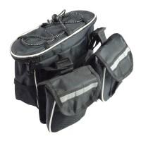 Geanta multifunctionala pentru bicicleta, Dunlop, poliester, prindere velcro, negru, 22 x 14 x 9 cm