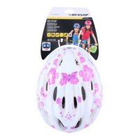 Casca protectie, pentru copii, Dunlop, cu adaptor, pentru bicicleta, alb, 48 - 52 cm