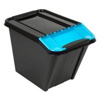 Cutie depozitare suprapozabila Slanted Plast Team, plastic, negru + albastru, 58 L