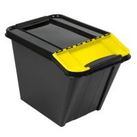 Cutie depozitare suprapozabila Slanted Plast Team, plastic, negru + galben, 58 L