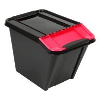 Cutie depozitare suprapozabila Slanted Plast Team, plastic, negru + rosu, 58 L