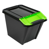 Cutie depozitare suprapozabila Slanted Plast Team, plastic, negru + verde, 58 L