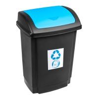 Cos gunoi Swing Plast Team din plastic, cu capac batant, forma dreptunghiulara, negru + albastru, 15 L