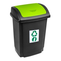 Cos gunoi Swing Plast Team din plastic, cu capac batant, forma dreptunghiulara, negru + verde, 15 L