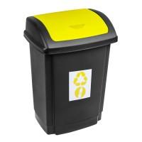 Cos gunoi Swing Plast Team din plastic, cu capac batant, forma dreptunghiulara, negru + galben, 15 L
