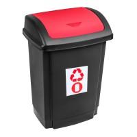 Cos gunoi Swing Plast Team din plastic, cu capac batant, forma dreptunghiulara, negru + rosu, 25 L