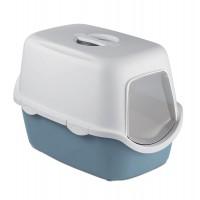 Litiera pentru pisici, Stefanplast, acoperita, plastic, albastru, 56 x 40 x 40 cm