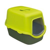 Litiera pentru pisici, Stefanplast, acoperita, plastic, verde, 56 x 40 x 40 cm