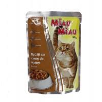 Hrana umeda pentru pisici, Miau Miau, adult, carne de iepure, 100g