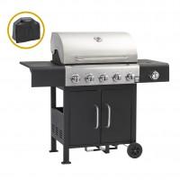 Gratar gradina, pe gaz, Landmann Grill Chef, 6 arzatoare, 19.5 kW, metal, cu roti deplasare, 69 x 43 cm + husa protectie