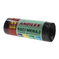 Saci menajeri / gunoi Andilex, super rezistenti, negru, 35 L, 15 buc