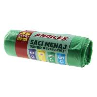 Saci menajeri / gunoi Andilex, super rezistenti, verde, 35 L, 15 buc