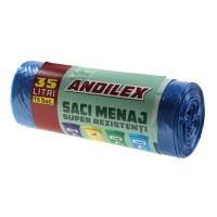 Saci menajeri / gunoi Andilex, super rezistenti, albastru, 35 L, 15 buc