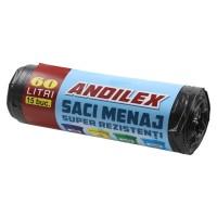 Saci menajeri / gunoi Andilex, super rezistenti, negru, 60 L, 15 buc