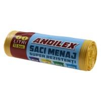 Saci menajeri / gunoi Andilex, super rezistenti, galben, 60 L, 15 buc