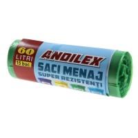 Saci menajeri / gunoi Andilex, super rezistenti, verde, 60 L, 15 buc