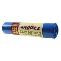 Saci menajeri / gunoi Andilex, super rezistenti, albastru, 160 L, 10 buc