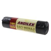 Saci menajeri / gunoi Andilex, super rezistenti, negru, 160 L, 10 buc