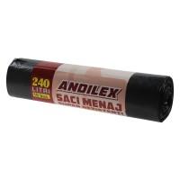Saci menajeri / gunoi Andilex, super rezistenti, negru, 240 L, 10 buc