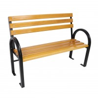 Banca pentru gradina, parc, cu spatar, metal + lemn, 120 x 41.5 x 44 / 90 cm, Magnolia