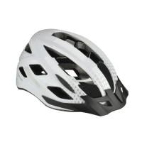 Casca protectie, Fischer, cu functie de iluminare, pentru bicicleta, alb, marime L/XL, 58 - 61 cm