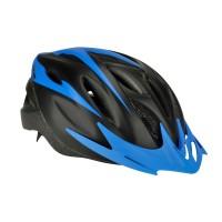 Casca protectie, Fischer, cu functie de iluminare, pentru bicicleta, negru + albastru, marime S/M, 54 - 59 cm