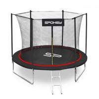 Trambulina copii Spokey Jumper, structura metal, cu sistem de protectie, D 244 cm, negru-rosu