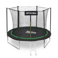 Trambulina copii Spokey Jumper, structura metal, cu sistem de protectie, D 244 cm, negru-verde