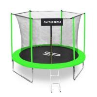 Trambulina copii Spokey Jumper, structura metal, cu sistem de protectie, D 305 cm, negru-verde