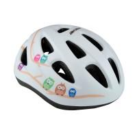 Casca protectie, pentru copii, Fischer, cu adaptor si functie de iluminare, pentru bicicleta, alb, marime S/M, 55 - 59 cm