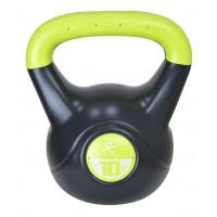 Gantera DHS kettlebell, otel, negru-verde, 10 kg