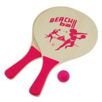Set palete tenis de plaja DHS LifeFit, rosu