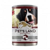 Hrana umeda pentru caini, Pet's Land, adult, carne de vita si mie, 1240g