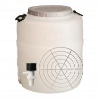 Bidon cu presator si robinet, alb, cu capac, 52 x 59 cm, 90L