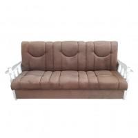Canapea extensibila 3 locuri Laura, cu lada, maro deschis + brate albe, 215 x 85 x 83 cm, 1C