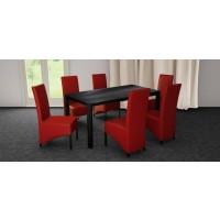Set masa fixa Torino cu 6 scaune tapitate Munchen, bucatarie, negru + rosu