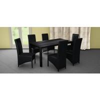 Set masa fixa Torino cu 6 scaune tapitate Munchen, bucatarie, negru