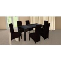 Set masa fixa Torino cu 6 scaune tapitate Munchen, bucatarie, negru + wenge