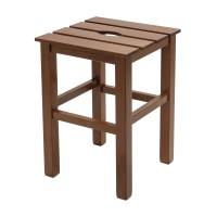Taburet Sauna fix, patrat, lemn nuc, 31 x 31 x 45 cm