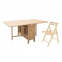 Set masa plianta cu 4 scaune Cucina, bucatarie, natur